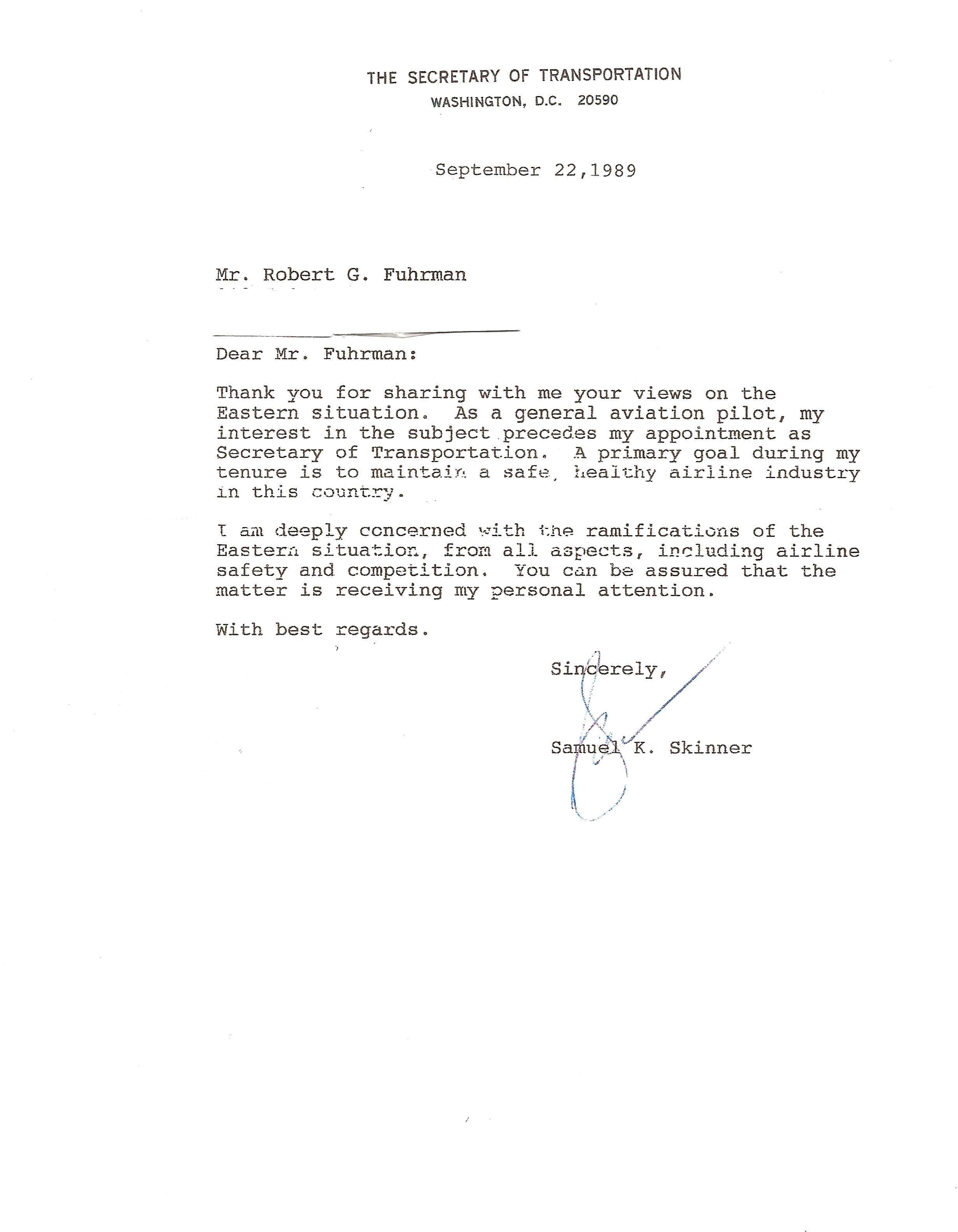 Skinner Letter